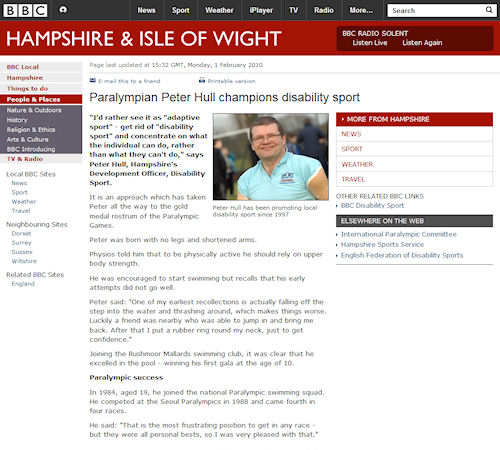 BBC News - Paralympian Peter Hull champions disability sport