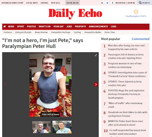 "Daily Echo - ""I'm not a hero, I'm just Pete"", says Paralympian Peter Hull"