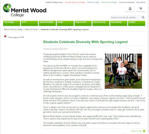 Merrist Wood College - Students celebrate diversity with sporting legend