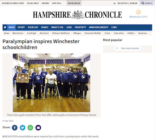 Hampshire Chronicle - Paralympian inspires Winchester schoolchildren
