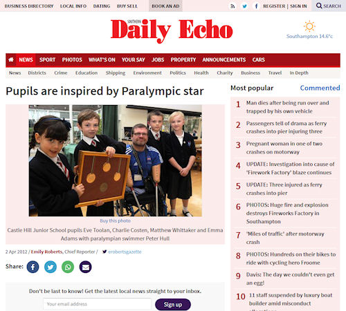 Daily Echo - Pupils are inspired by Paralympic star